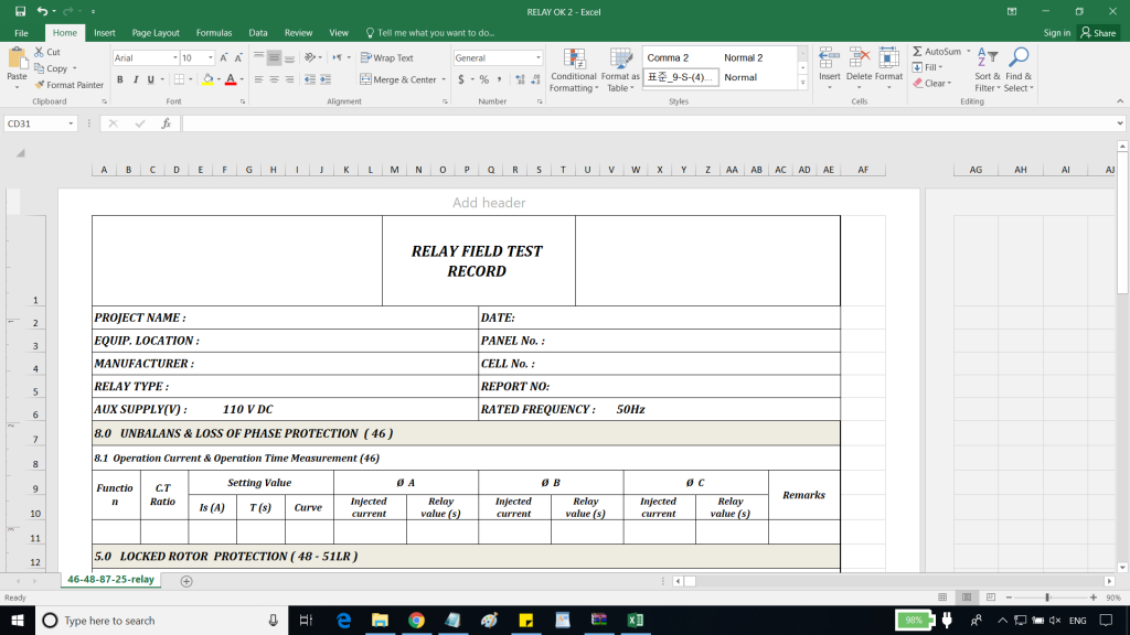 Test Sheet Template